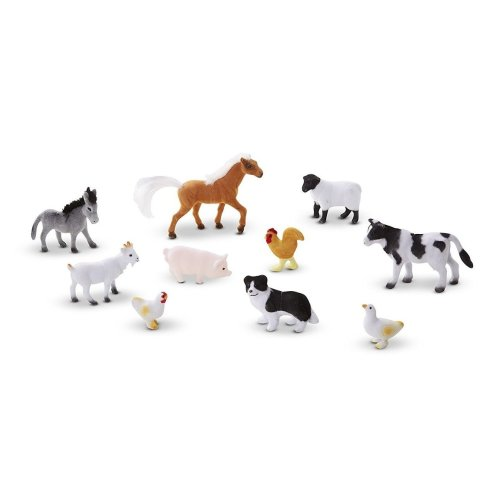 Melissa & Doug 10594 Farm Friends Collectible Toy Animal Figures (10 Pcs)