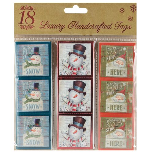 Pack Of 18 Traditional Christmas Tags - Santa & Snowman