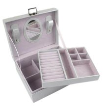 Jewelry Box Necklace Organizer Rings Display Earrings Storage Case-Silver