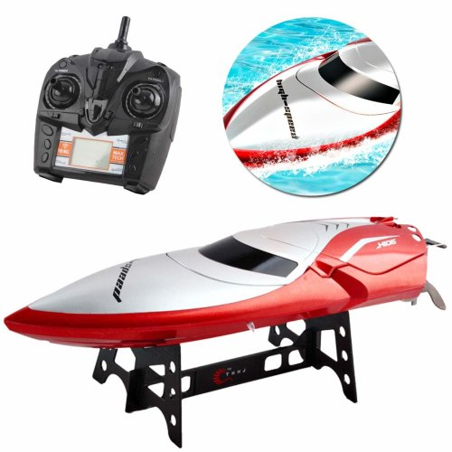 deAO 2.4GHz High Speed Remote Control Speed Boat with 7.4V 600mAh Battery LCD Rechargeable Controller and 4-Channels