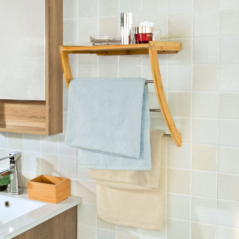SoBuy® FRG47-N, Bmaboo Wall Mounted Bathroom Towel Rack Shelf Holder ...