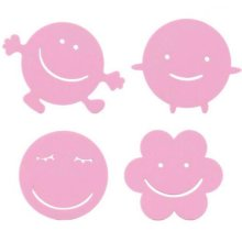Set Of 4 Lovely Pink Smile Face Pot Holders Coffee Pads Insulation Mats