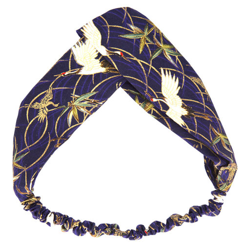 Adjustable Bow Japanese Styles Cross Hair Band Headband For Women,Blue,Crane #2