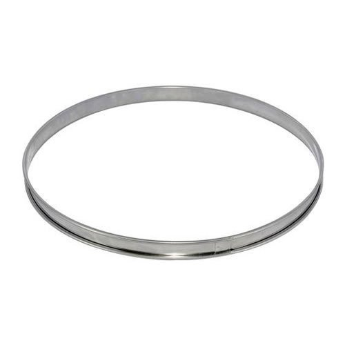 De Buyer Circular Tart Frame with Rolled Edge, Stainless Steel, Height 2cm Diameter 12 cm, Stainless Steel, silver, 18 cm