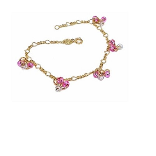 New 9 CT Gold Filled Figaro Link Bracelet with Pink Bead B21
