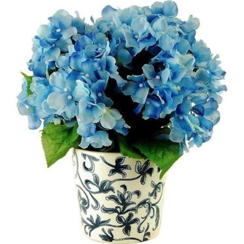 Designs by Lauren 16F25 14 in. Hydrangeas in a French Blue Ceramic Vase