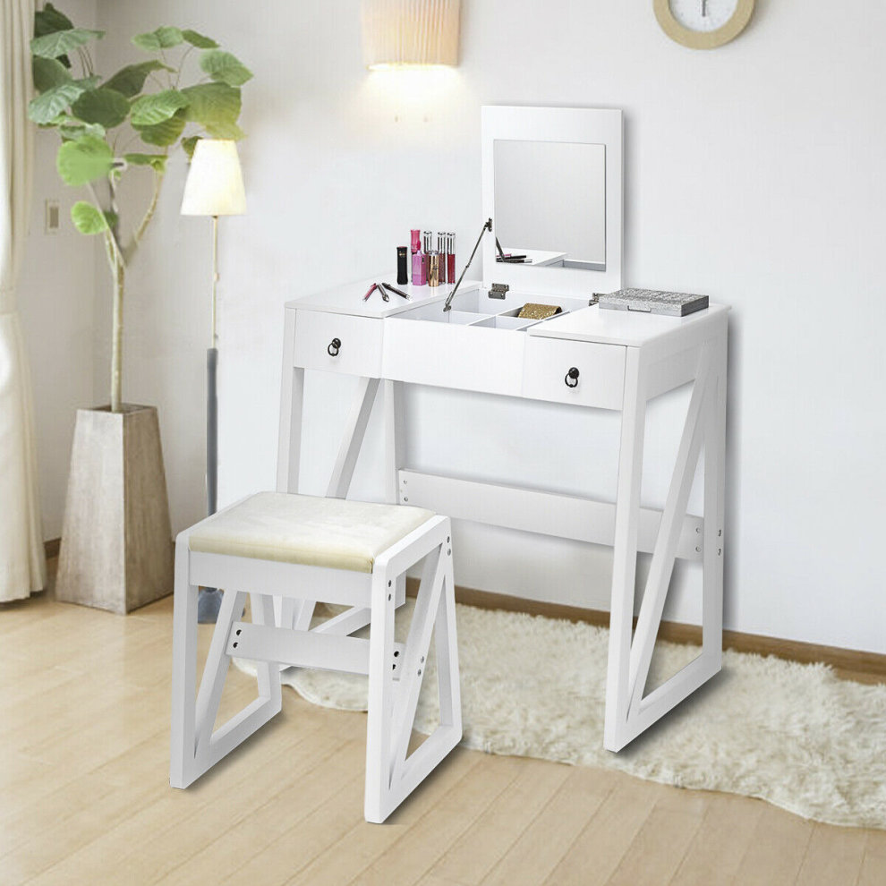 Outstanding 2 In 1 Vanity Set Makeup Desk Dressing Table Flip Top Mirror Ncnpc Chair Design For Home Ncnpcorg