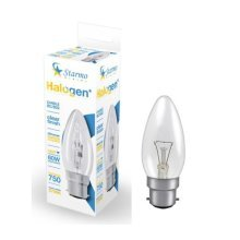 1 X Starmo 48W = 60W Bc/B22 Candle Long Life Clear Eco Halogen Light Bulbs Dimmable Energy Saving 750 Lumens