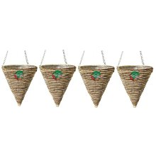4 X Kingfisher 30 cm Rope Cone Garden Plant Lined Basket 40 cm Hanging Chain