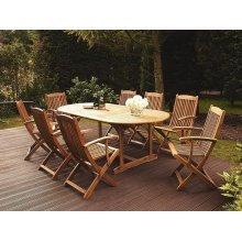 Light Brown Wooden Extending Garden Table 160/220 x 100 cm MAUI