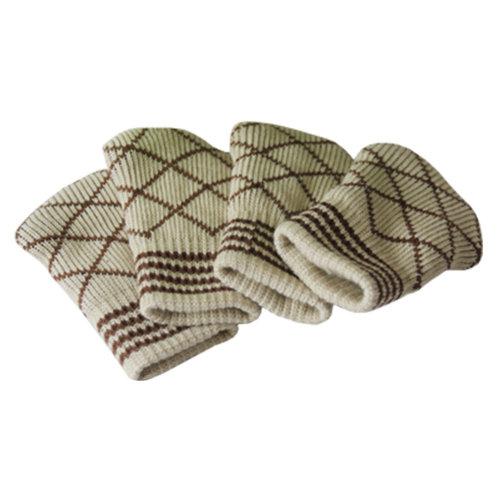 24 PCS Knit Chair Socks, Stylish Furniture Floor Protector Chair Leg Pad Griege
