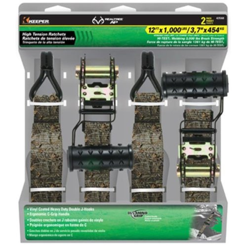 Keeper 43568 1.25 in. x 12 ft. Camo Ratchet Tie Down, 2 Pack