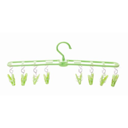 Wind Resistant Portable Hanger 8 Clips Foldable Clothing Rack-Green