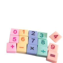 Set of 15 Mini Lovely Numeric Character Erasers, Classic Premium Erasers