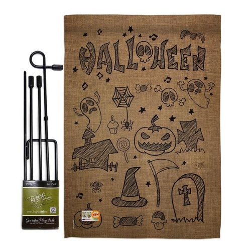 Breeze Decor BD-HO-GS-112061-IP-BO-D-US14-BD 13 x 18.5 in. Halloween Doodles Fall Vertical Double Sided Mini Garden Flag Set with Banner Pole