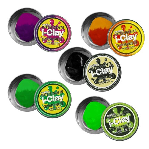 i-CLAY 59448 Intelligent Superknete, Colour Changing, Glow, Magnetic, Assorted