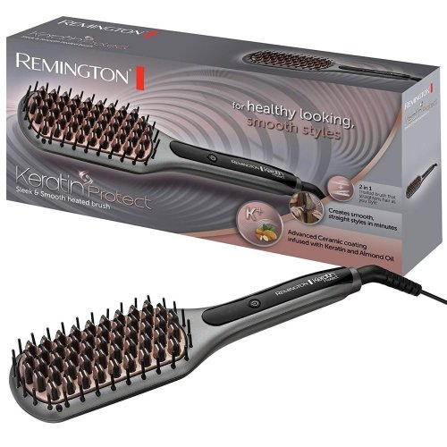 Remington CB7408 Keratin Protect Hair Straightening Brush Ceramic Sleek & Smooth