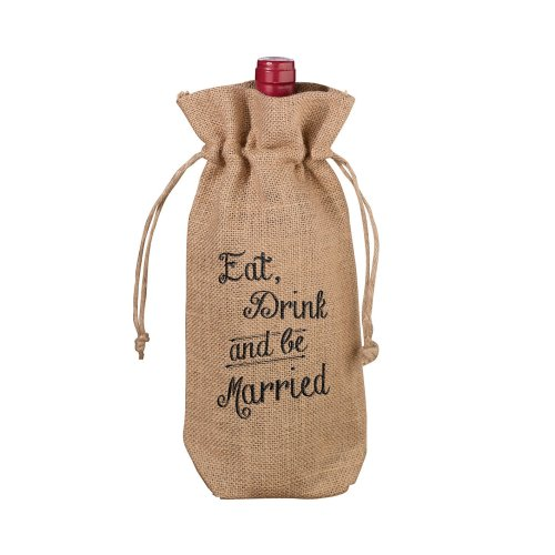 Eat, Drink And Be Married Burlap Wine Bag