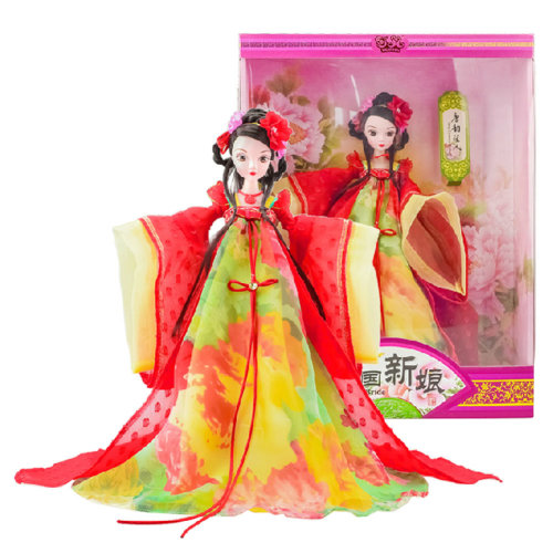 Chinese Ancient Bride Red Wedding Dress Doll, Tang Dynasty