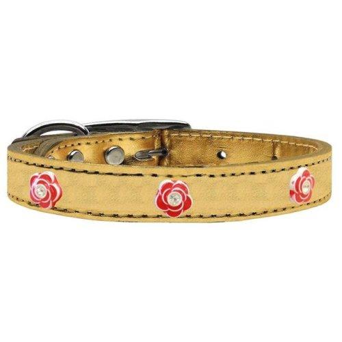 Mirage Pet 83-83 Gd14 Red Rose Widget Genuine Metallic Leather Dog Collar, Gold - Size 14