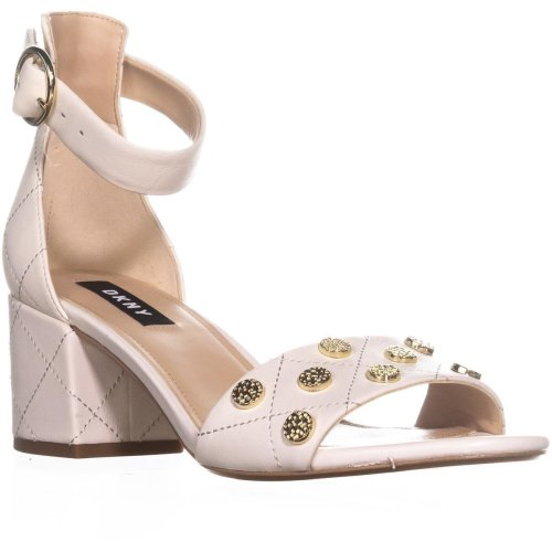 DKNY Henli Ankle Strap Block Heel Sandals, Quilted/Ivory, 3.5 UK