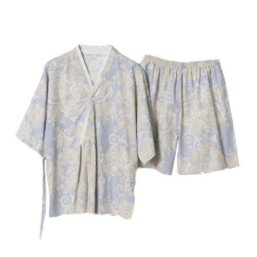 Flora Pattern Kimono Style Summer Short Pajamas Suit Khan Steam Clothes Pajamas