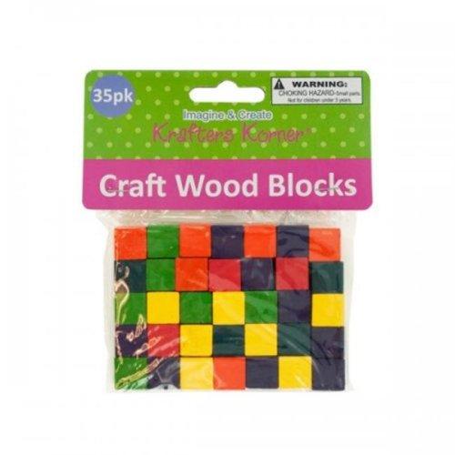 Krafters Korner CC079 Colored Wooden Craft Blocks - Yellow, Green, Blue, Red, Purple, Orange