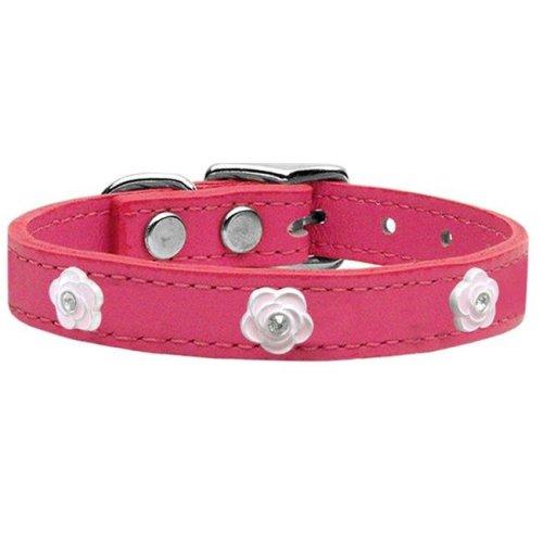 Mirage Pet 83-72 Pk20 Light Pink Rose Widget Genuine Leather Dog Collar, Pink - Size 20