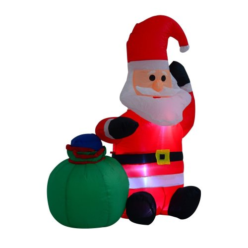 Homcom Inflatable Blow Up Christmas Santa Claus 120cm Led Lighted Holiday Decoration