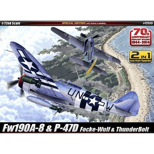 Aca12513 - Academy 1:72 - P-47d & Fw 190-8 70th Anniv. Normandy