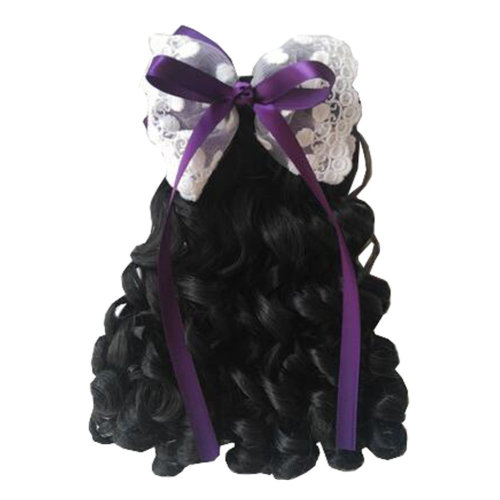 Children Girls Long Curly Wigs Hair Extensions Hair Clip Kids Wig Hairpiece, E
