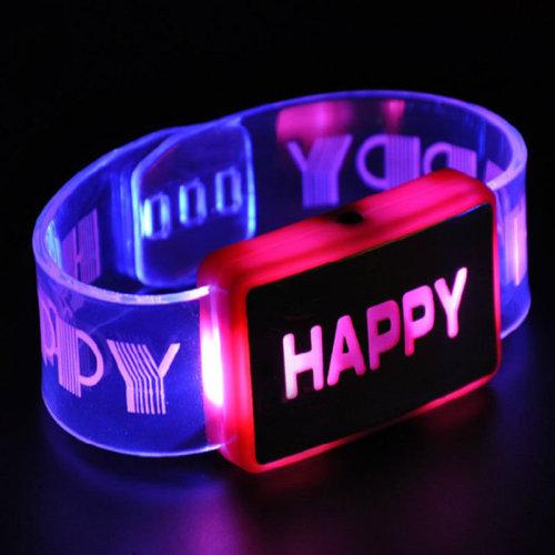 Happy Letter Voice Activated Sound LED Flashing Bracelet Wristband