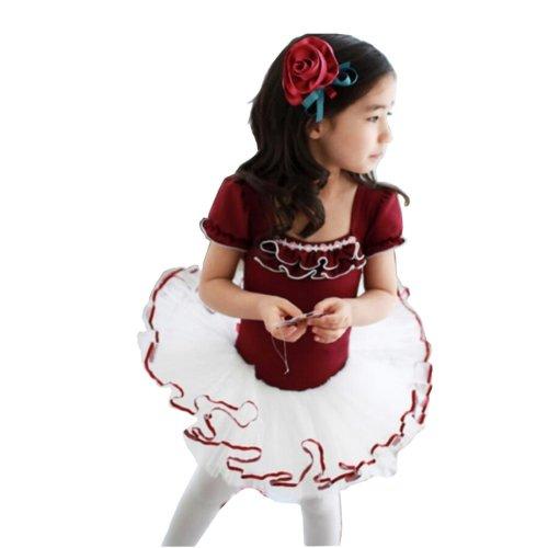 [CLARET]ShortSleeve Flower Cute Kid Ballet Dress Child Ballet Leotard Tutu,110cm