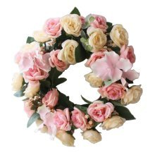 [Pink-2] Artificial Wreath Hanging Garland Door Wreath Wedding Decor