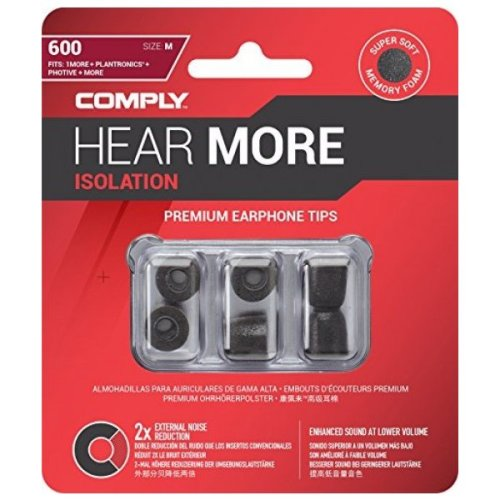 Official Comply Noise Cancelling Hear More Isolation 600 Series Medium 3 Pair Earphone Foam Tips - Black (T-600 BLK-M)