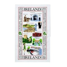 Sights of Ireland Tea Towel White Souvenir Gift Irish Guiness Blarney Castle New