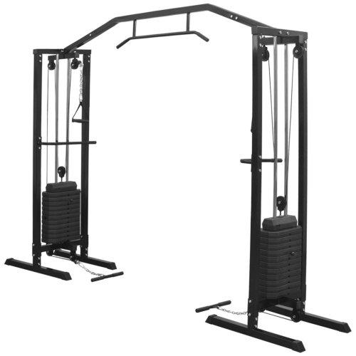 vidaXL Fitness Cable Crossover Machine 315 cm Black Power Tower Multi Gym