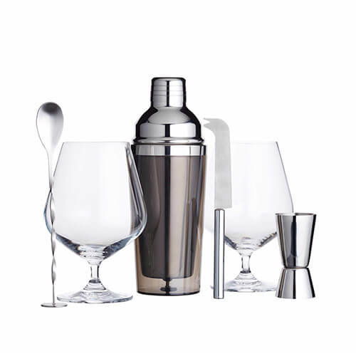 BarCraft Luxury Gin Glasses and Cocktail Making Kit (6-Piece Gift Set)