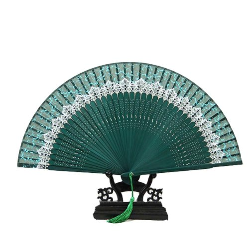 Chinese Classical Style Bamboo Frame Dance Fans Silk