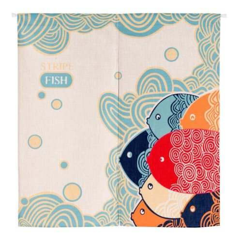Bedroom and Doorway Curtain Fish Pattern Cartoon Cotton Curtain