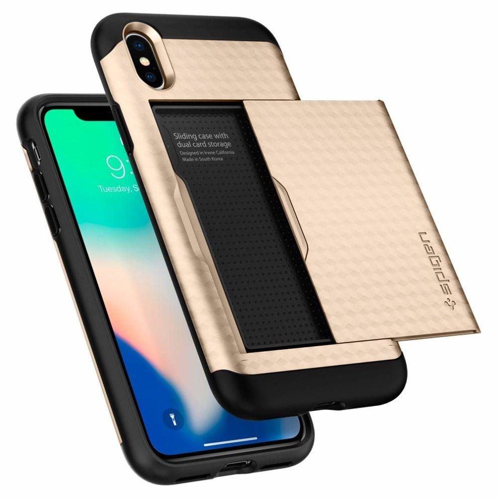 sale retailer 58e69 fcc9d Spigen Apple iPhone X Crystal Wallet Case - CHAMPAGNE GOLD