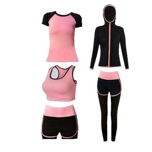 Yoga Suit/ Women's 5 Piece Activewear Set/ Gym Outfit Workout Sports Wear