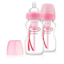 Dr Brown's Options Wide Neck Twin Pack Pink Bottles 270ml