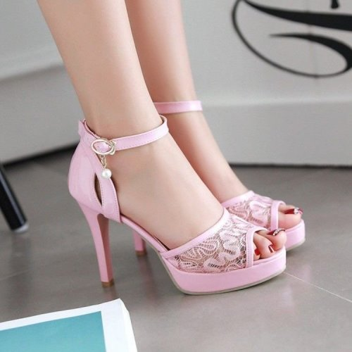 Comfort Lace Mesh Stiletto Open Toe High Heels Sandals Ankle Strap