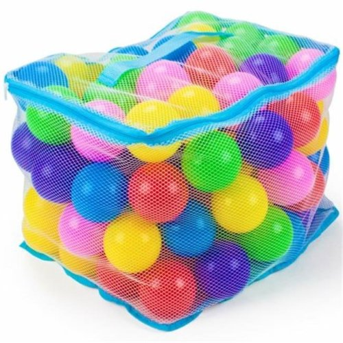 100 Jumbo 3'' Multi-Colored Soft Ball Pit Balls w/Mesh Case