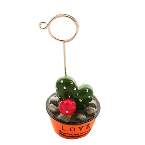Set of 2 Fresh Plants Cactus and Strawberry Style Office Memo Card Holders