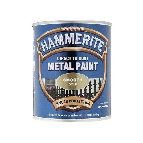 Hammerite SFGO750 Direct to Rust Smooth Finish Metal Paint Gold 750ml