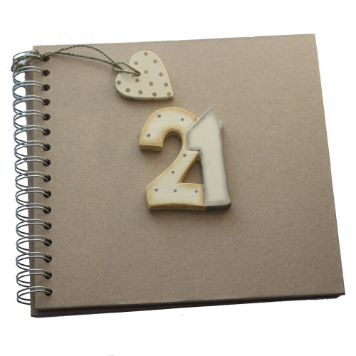 East of India 21st Birthday Keepsake Book Twenty One Brown Kraft Memory Photo