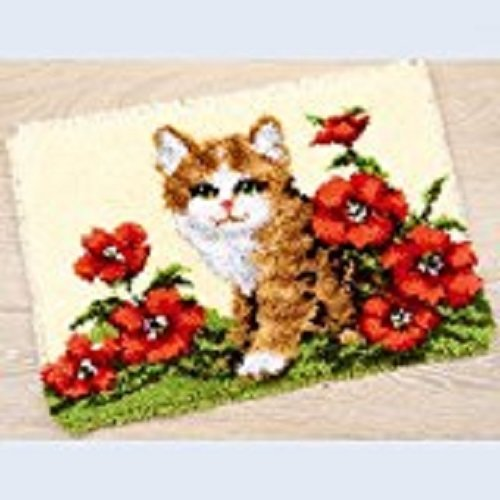 "Latch Hook Rug Kit""Kitten in Poppies"" 52 x 38cm"
