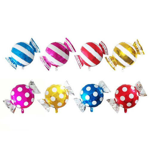 TRIXES 8PC Pack Sweet Shaped Foil Balloons Multicolour Polka Dot Striped Birthday Parties Celebrations